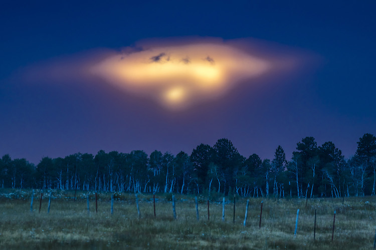 HASTINGS MESA, UFO-like sunset over Hastings Mesa, resembles a spaceship landing