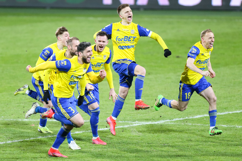 Pilka nozna. Fortuna Puchar Polski. Arka Gdynia - Piast Gliwice. 07.04.2021