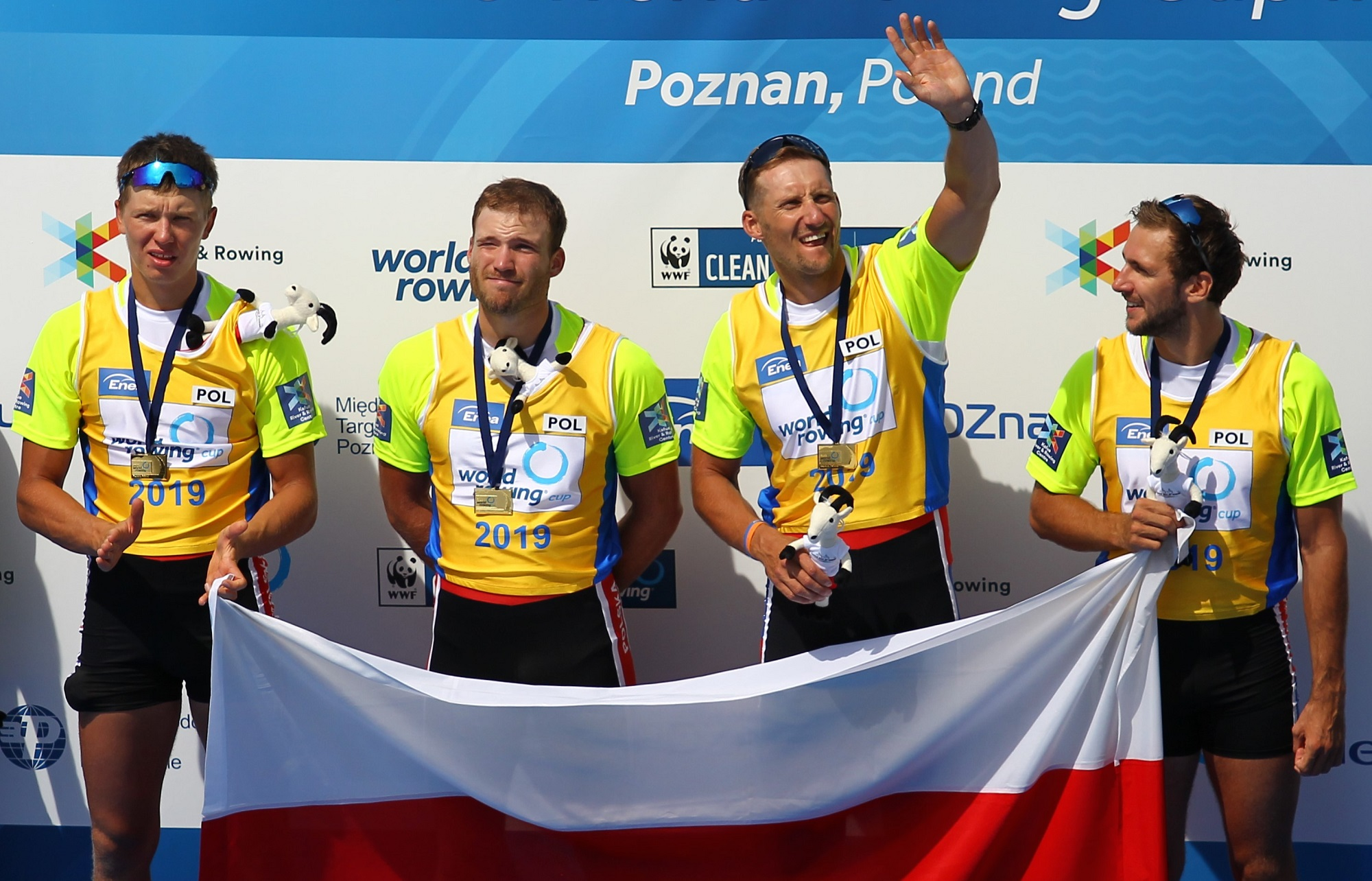 Wioslarstwo. Fabian Baranski, Szymon Posnik, Wiktor Chabel, Dominik Czaja