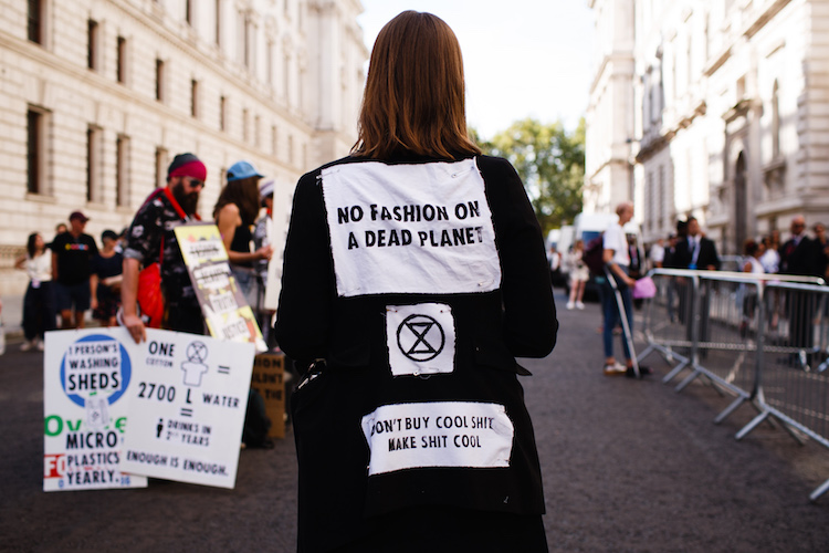 Climate Change Activist Group Extinction Rebellion Protest At London Fashion Week