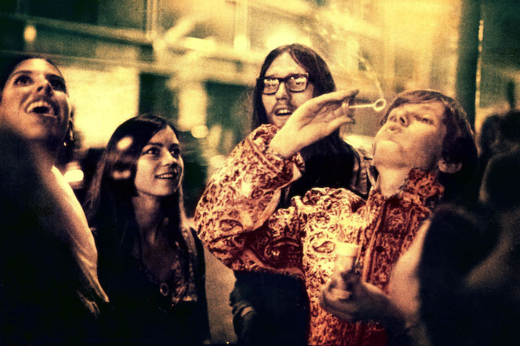 Psychedelic Hippies outside UFO, Psychedelic club, London, UK, 1967